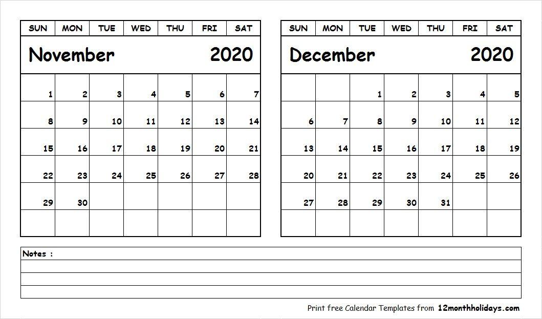 Blank Calendar November 2020.Blank Calendar November December 2020 2018 Calendar January