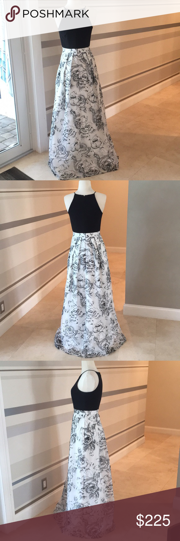 Black and white roses prom dress size