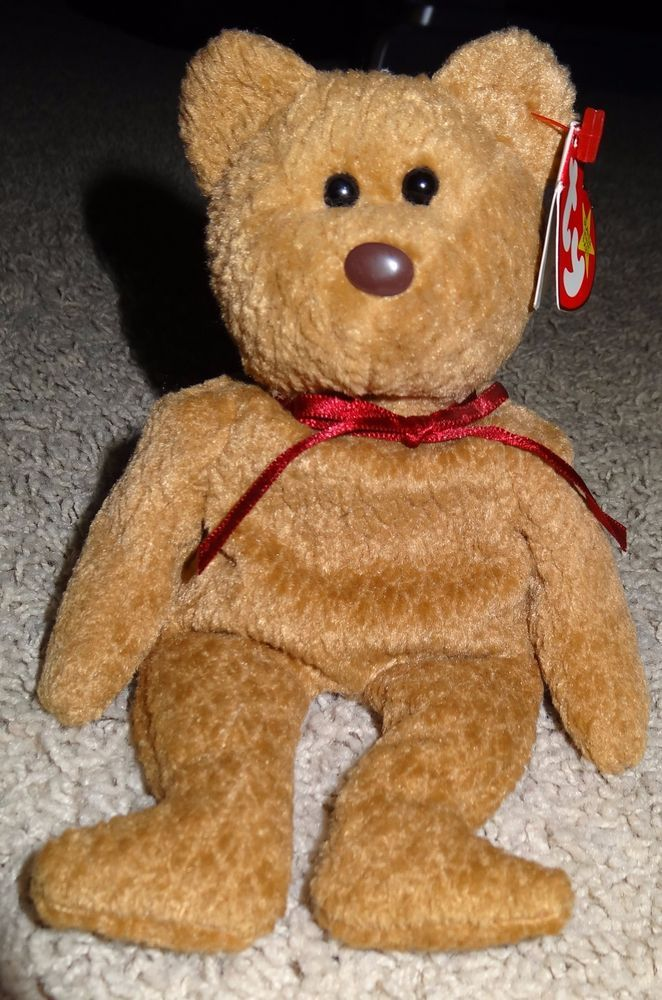 ee77481005c TY Beanie Baby Curly Brown Bear Brown Nose PE Pellets 1996 1993 Errors Rare  - TH  Ty