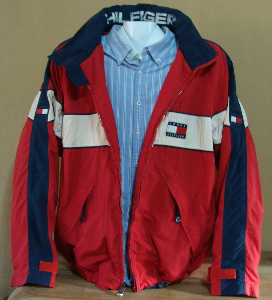 Vintage Tommy Hilfiger Sailing Windbreaker Sailor Hoodie Jacket Hood Sz Xl Ebay Hoodie Jacket Jackets Tommy Hilfiger