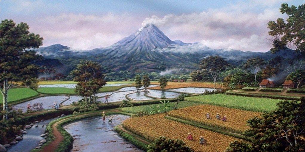 Gambar Pemandangan Gunung Dan Sawah Lukisan Landscape In 2019