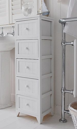 Slim Bathroom Storage Cabinet A Crisp White Freestanding Cottage Bathroom Storage Furniture A