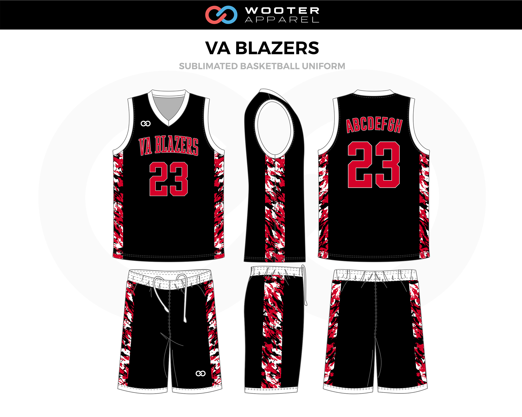 VA Blazers Black, White, Red, Custom