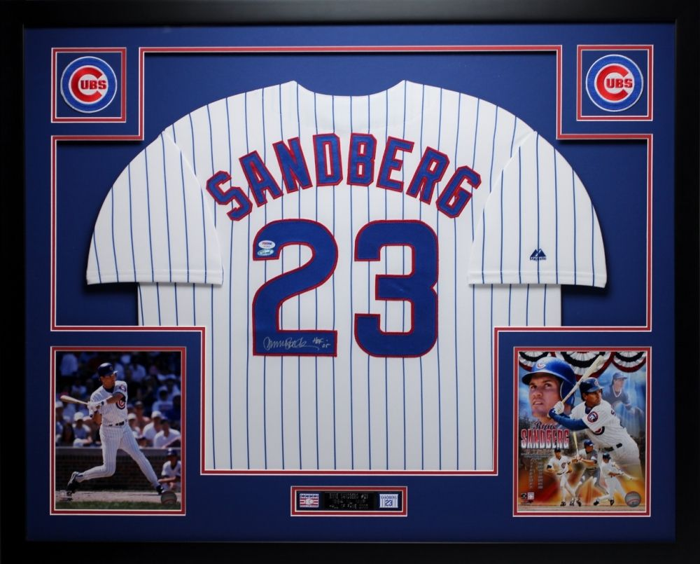 Ryne Sandberg Signed Cubs 35 Quot X 43 Quot Custom Framed Jersey