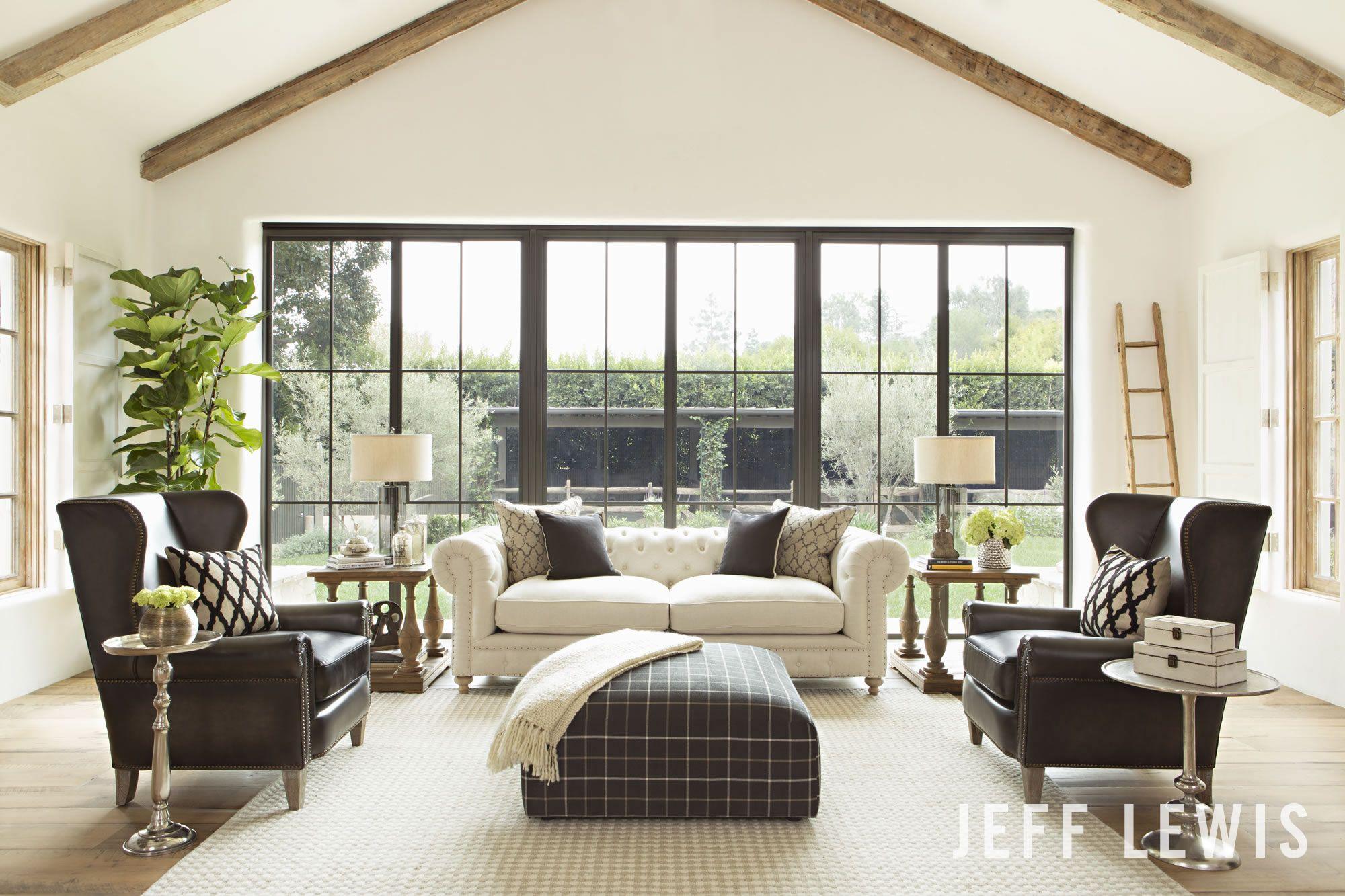Modern Cottage Living Room Jeff Lewis Paint Cotton