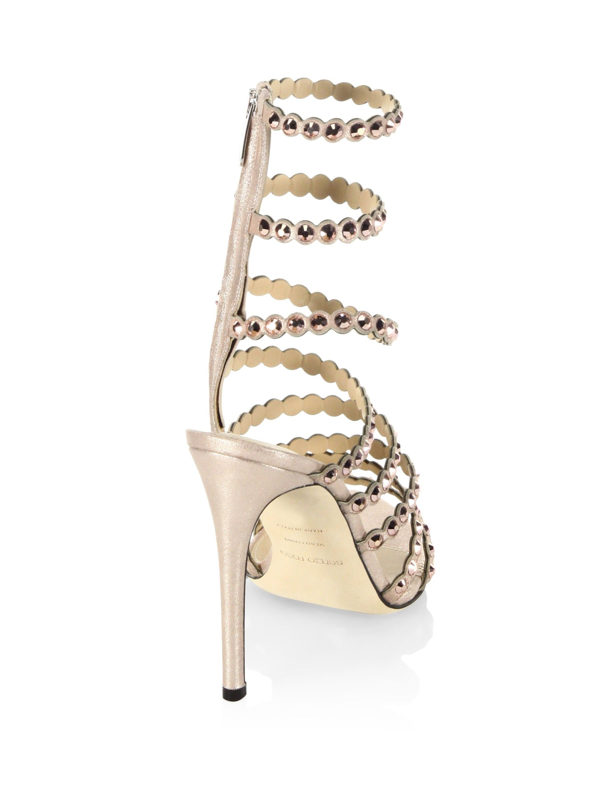 f5c02656fe0a Sergio Rossi Kimberly Crystal Gladiator Sandals - Champagne 40.5 (10.5)