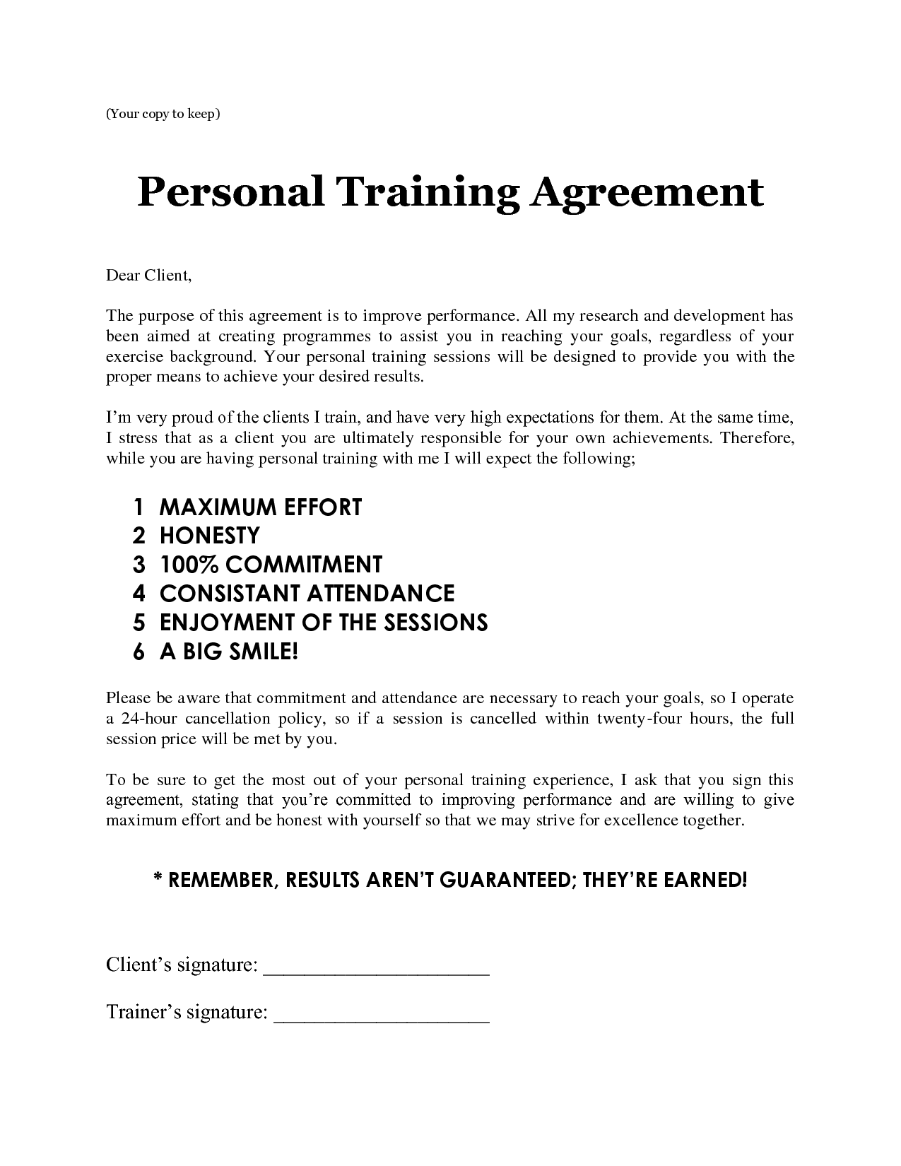 Personal training sheets personal training agreement for Personal trainer contract templates
