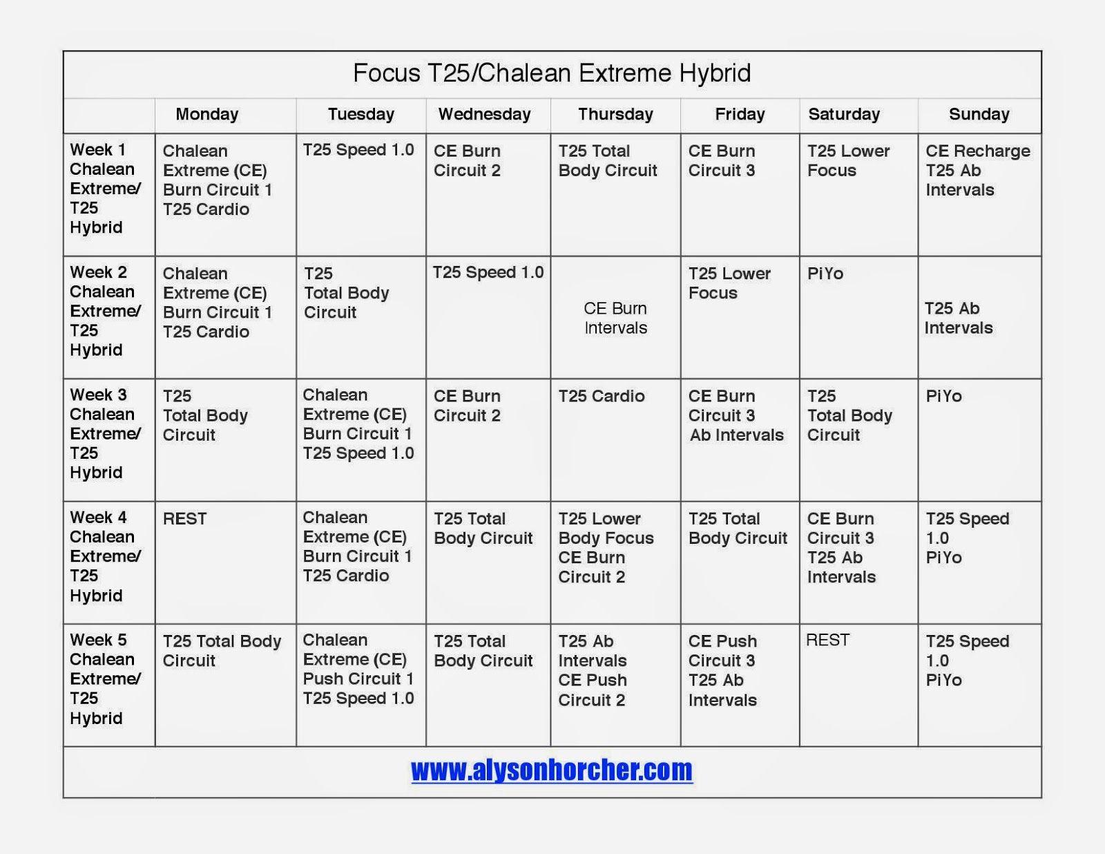 Ysonhorcher Focus T25 Chalean Extreme T25