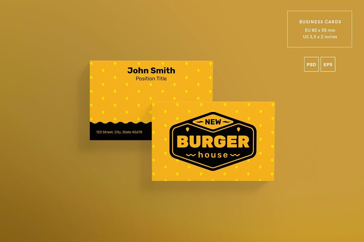 Print pack burger house business cards business card design print pack burger house amber graphics you can find our ideas for business reheart Choice Image