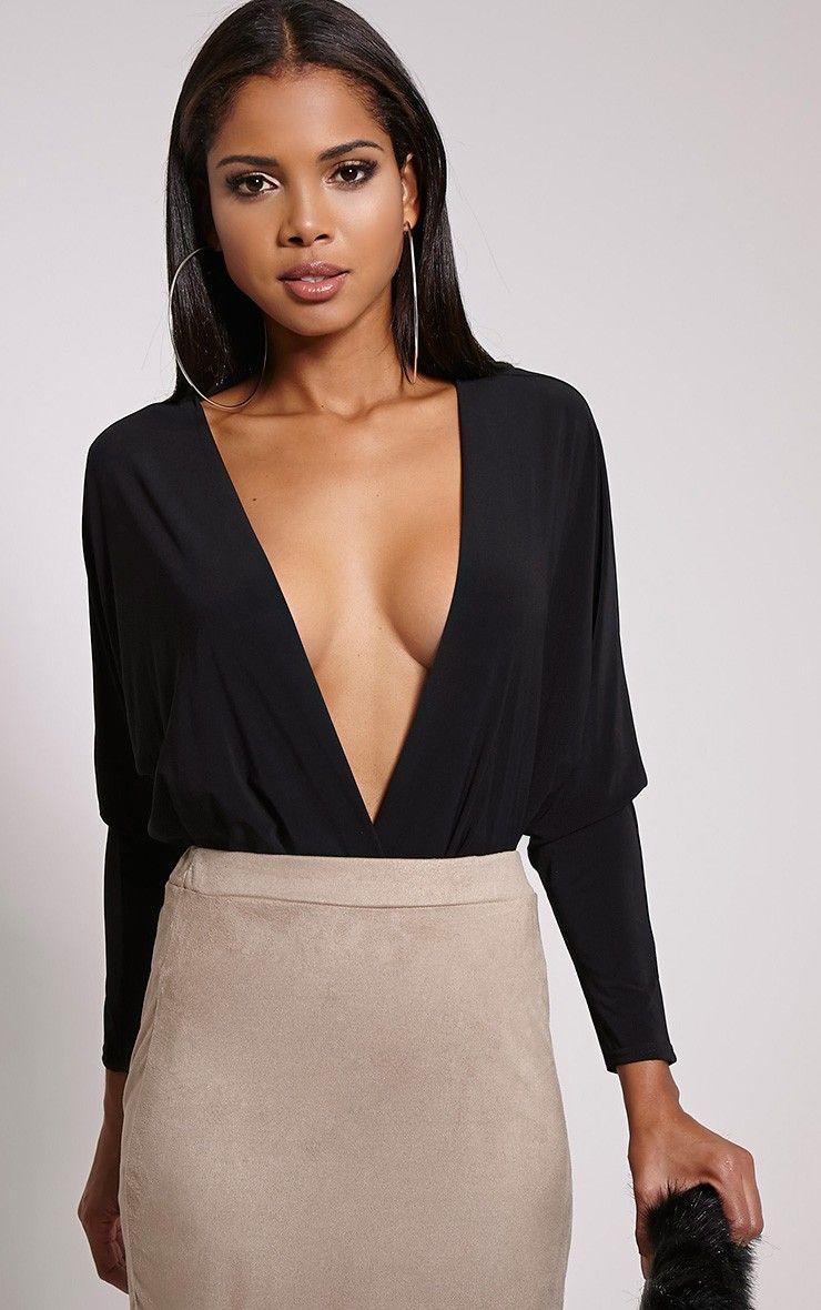 2b871247a6 Adelle Black Thong Long Sleeve Deep Plunge Bodysuit