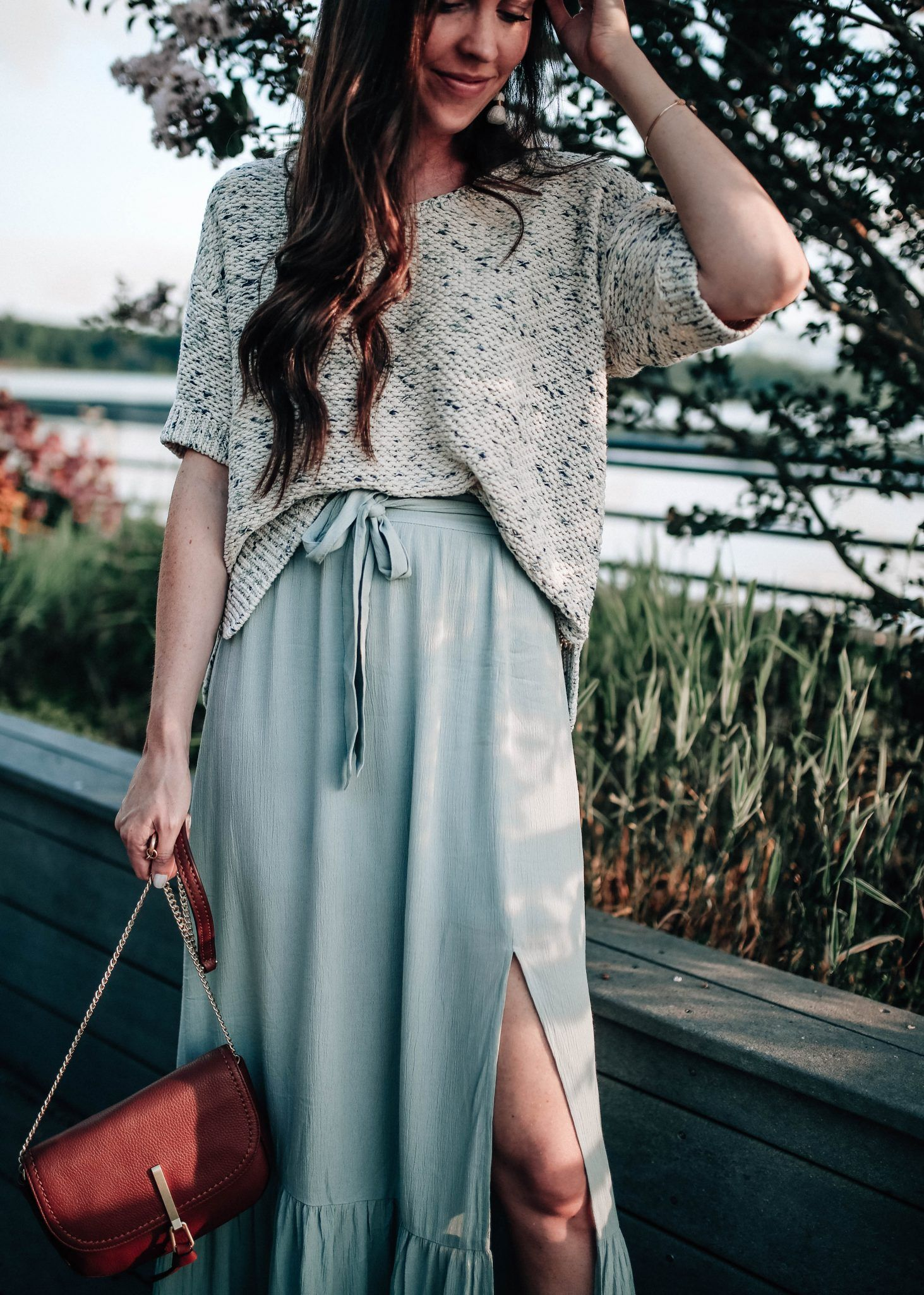 Sun Shadow Ruffle Hem Maxi Skirt Summer Outfit Idea With Pretty In The Pines Nc Blogger Style Fashion Maxi Skirt [ 2048 x 1463 Pixel ]