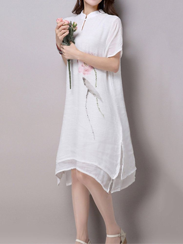 Folk Style Women Lotus Flower Printing Irregular Split Hem Dress at Banggood