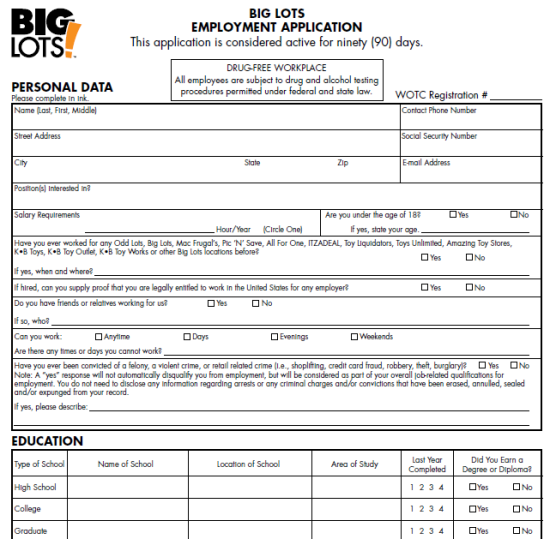 big lots application form meshellethomas6 gmail