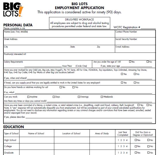 Big Lots Job Application Form Meshellethomas6 Gmail Com
