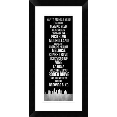 "Naxart 'Streets of Los Angeles 2' Framed Graphic Art Print Size: 24"" H x 12"" W x 1.5"" D"