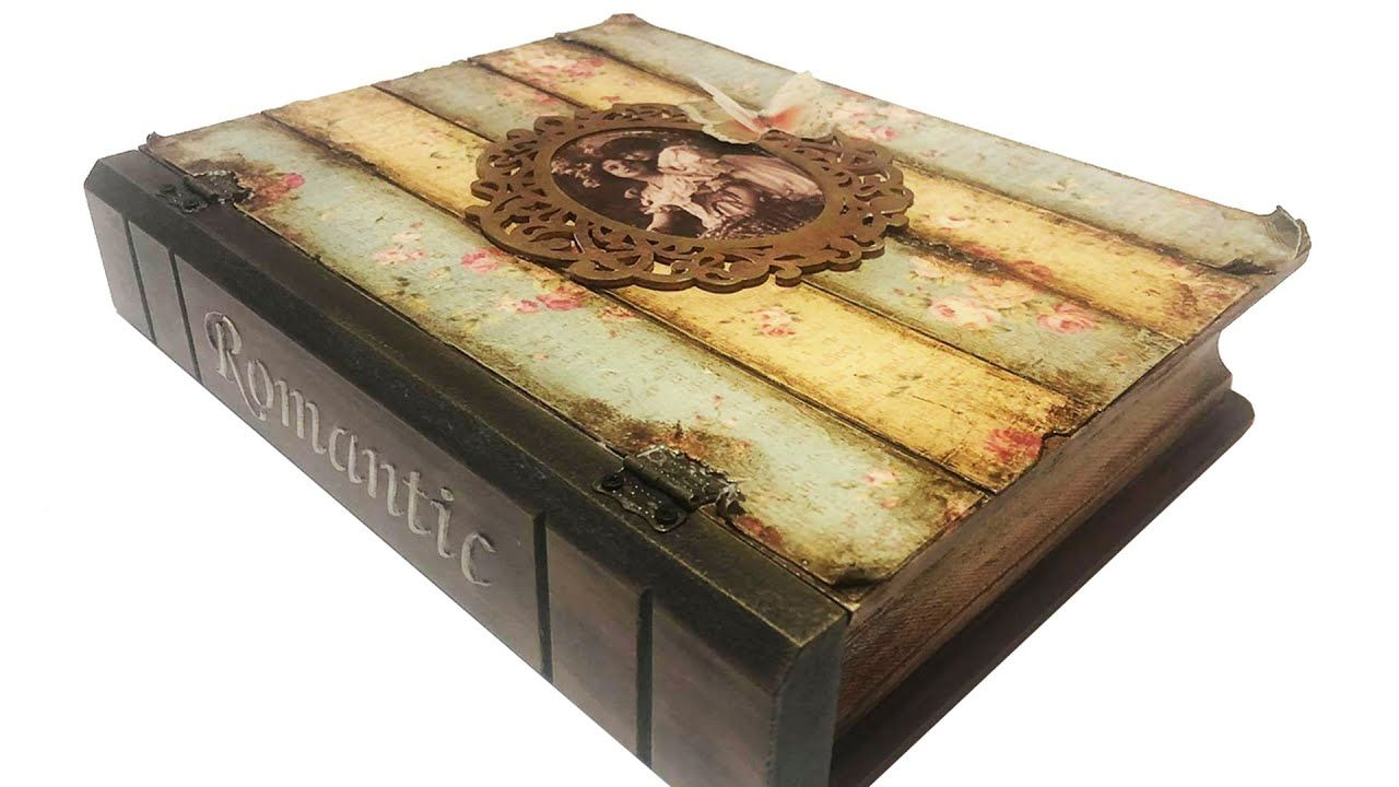 Diy Vintage Decoupage Box Box That Looks Like A Book In 2021 Decoupage Box Diy Vintage Decoupage