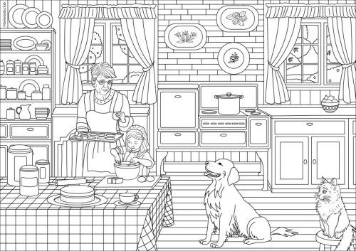 Country Spring Country Kitchen Printable Adult Coloring
