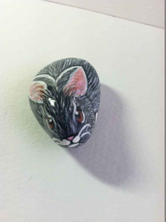 Hand Painted Easter Bunny Rock Magnet by SallyStones on Etsy