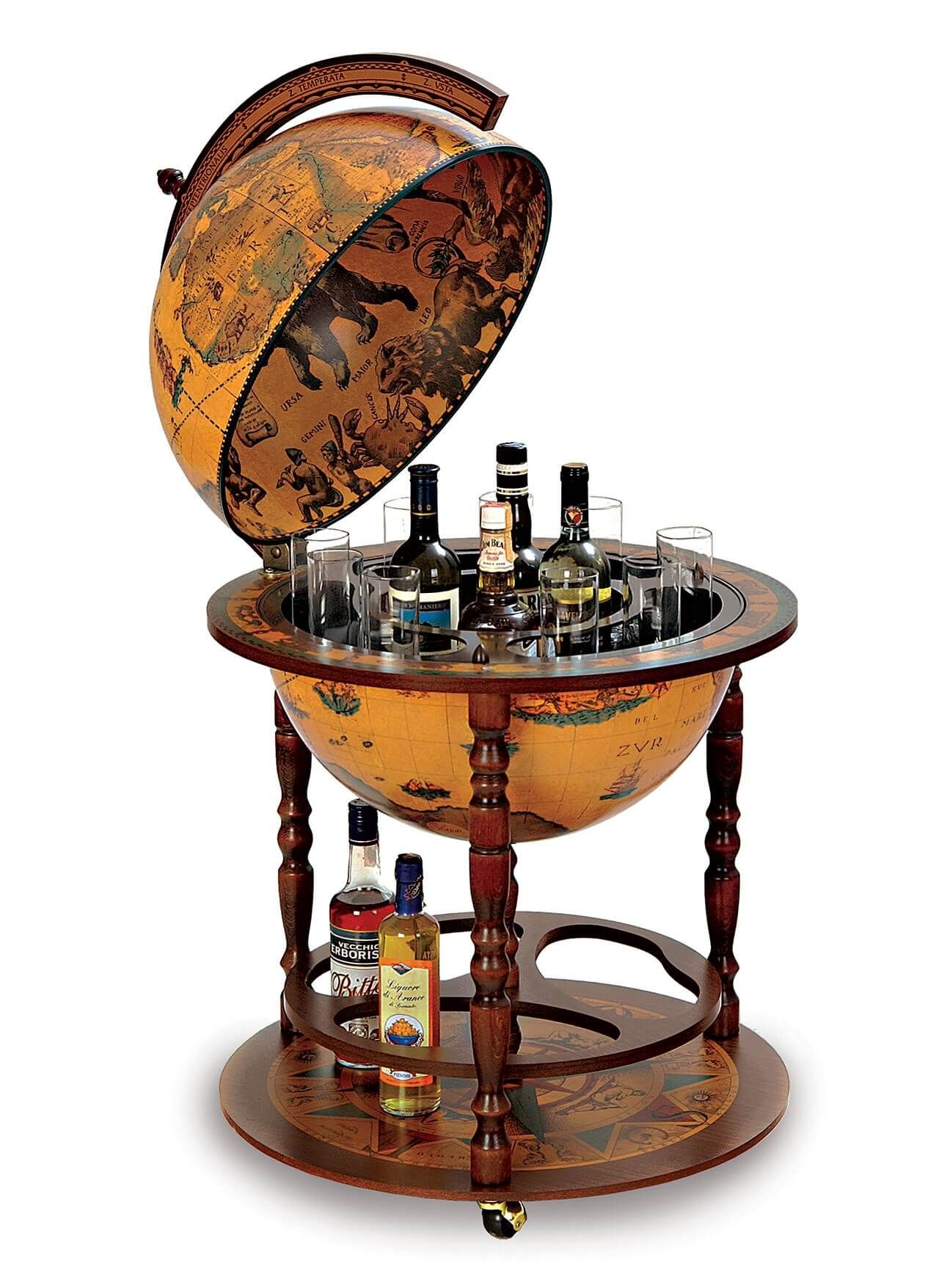 Morientez Globe BarThe Morientez Globe Bar is a budget globe drinks cabinet  that can store up to 4 bottles and 12 glasses in its Century replica antique  ... - Morientez *Genuine Italian* Bar Globe Lounge/Dinning Room
