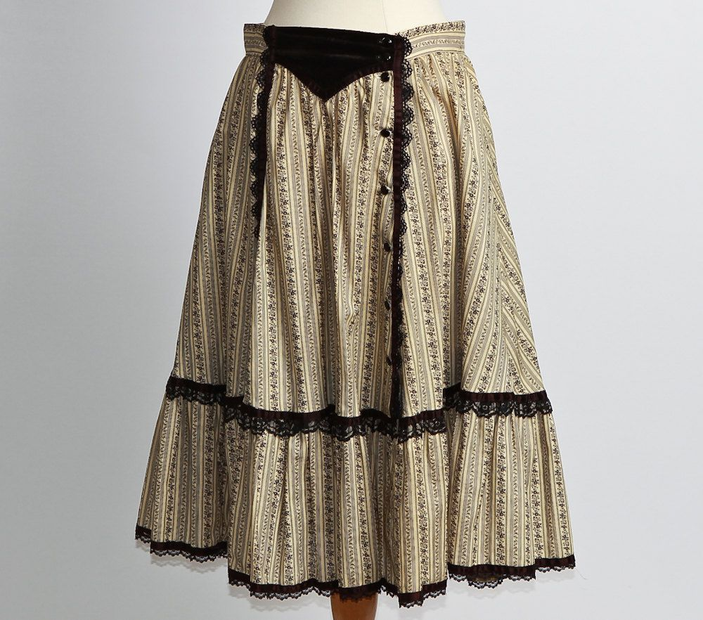 vintage 1980s Victorian West Skirt by Gunne Sax