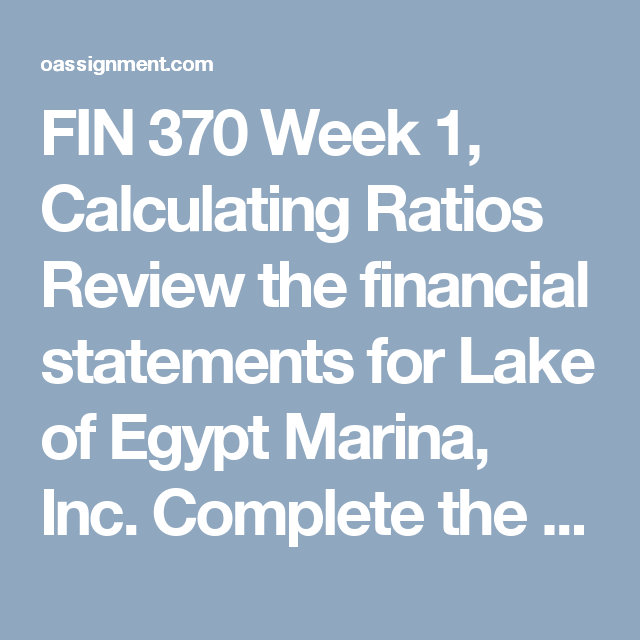 Fin  Week  Calculating Ratios Review The Financial Statements
