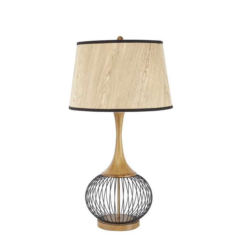 Rishi 23 Table Lamp With Metal Wire Cage And Faux Wood Shade Faux Wood Shades Wood Shades Black Table Lamps