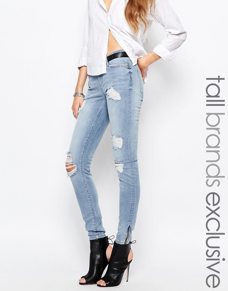 Image 1 of Noisy May Tall Eve Superslim Ankle Zip Jeans | Style ...