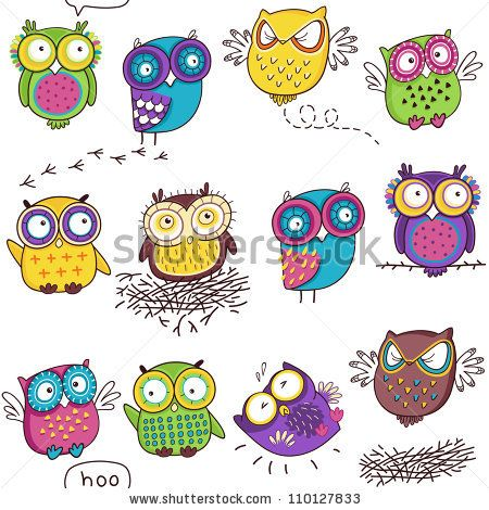 seamless pattern with color owl in white background stock vector
