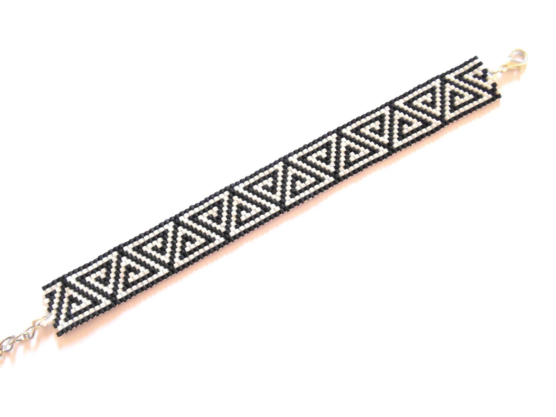 Extrêmement Bracelet fin motif triangle / perles miyuki noir et blanc  WR28