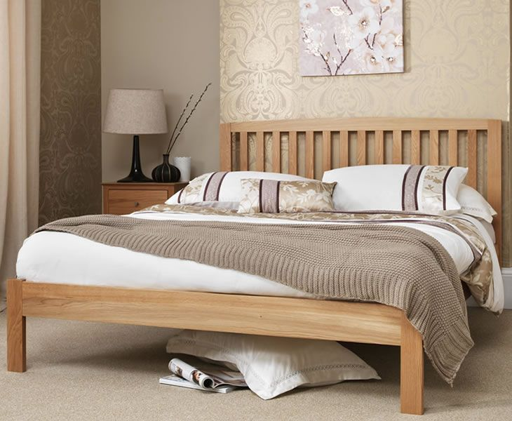 the thornton bed frame is crafted from solid white oak farmed from a sustainable source and features a traditional style with an attractive slatted headend - Double Bed Frame