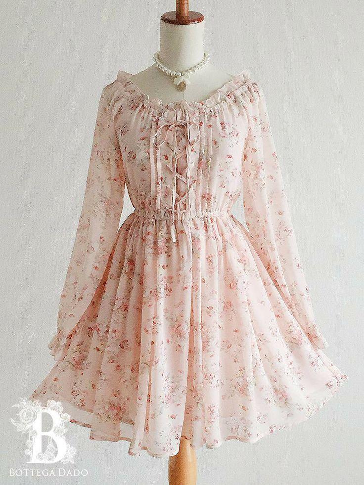 ?LIZ LISA?Rose Lace-up Dress Chiffon Floral Pink L