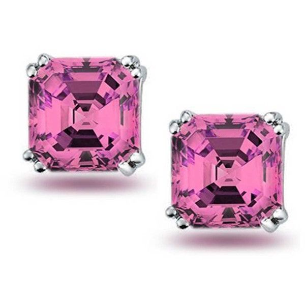 Bling Jewelry Pink Cz Cher Cut Stud Earrings 925 23 Liked On Polyvore Featuring Sterling Silver