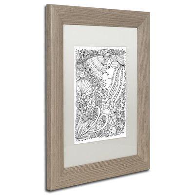 "Trademark Art 'Flower Girls' by KCDoodleArt Framed Graphic Art Size: 14"" H x 11"" W x 0.5"" D, Matte Color: White"