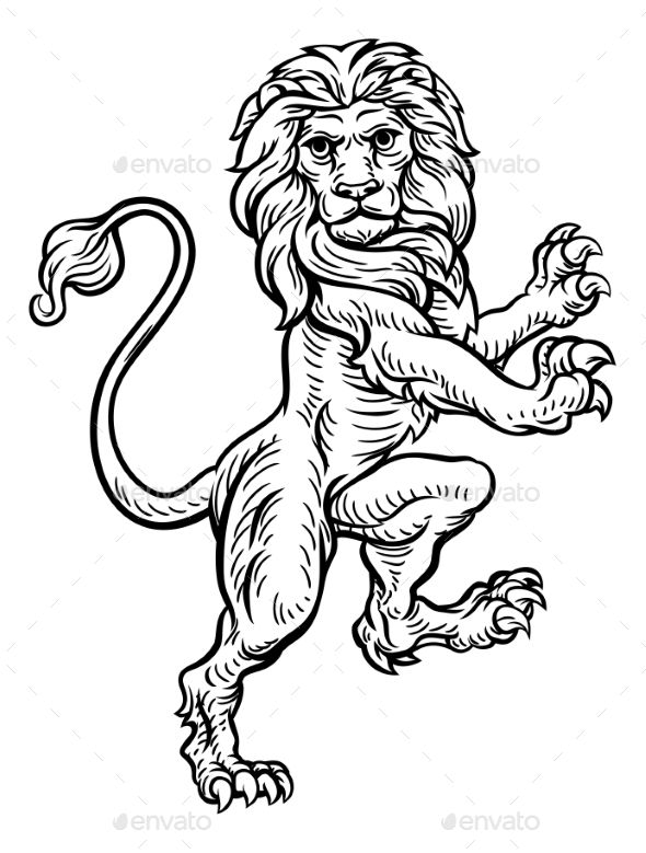 A Lion Standing Rampant On Its Hind Legs From Coat Of Arms Or Heraldic Crest