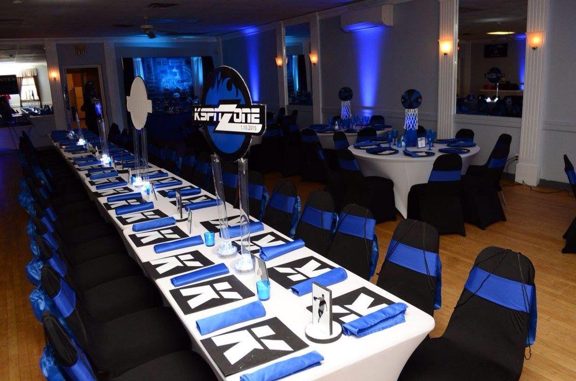 Espn Theme table setup / sport bar mitzvah Bar mitzva