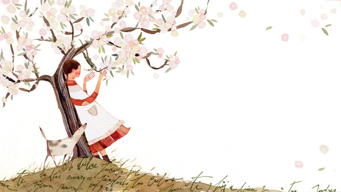 the child under an almond tree