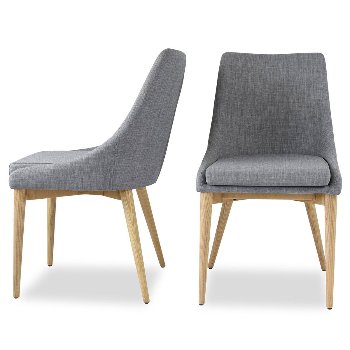 Jessica Dining Chair In Light Grey Fabric On Oak Legs Set Of 2