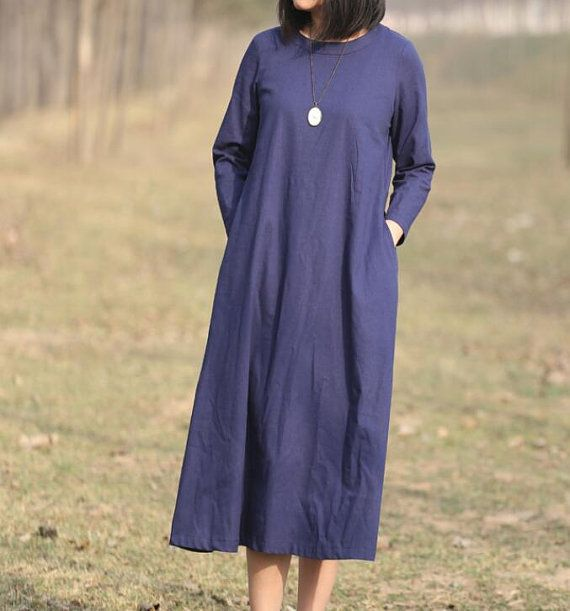 Vestido azul marino largo algodon