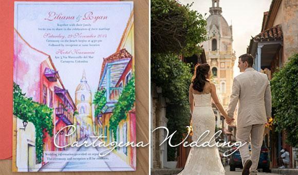 Real wedding in Cartagena. Invitation by Hand-Painted Weddings. #cartagenaweddings #destinationwedding #destinationweddinginvitation http://bit.ly/1PZXSVk