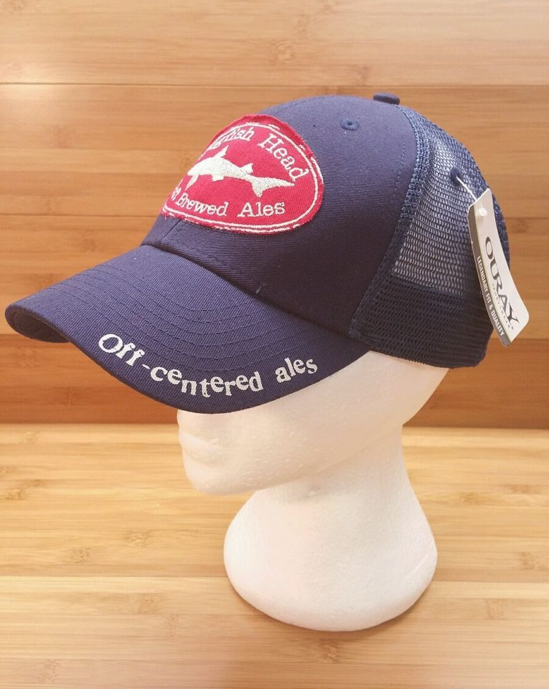 c7c821cd672 Dogfish Head Ale Mesh Truckers Snap Back Baseball Cap Official Blue Red in  Clothing