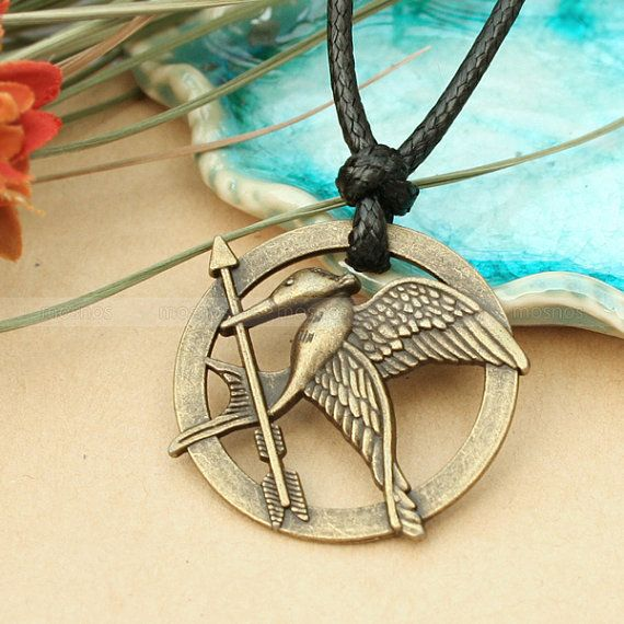 Hunger games adjustable black hunger games necklace with hunger games adjustable black hunger games necklace with mockingjay pendant and katniss arrow inspired mozeypictures Images