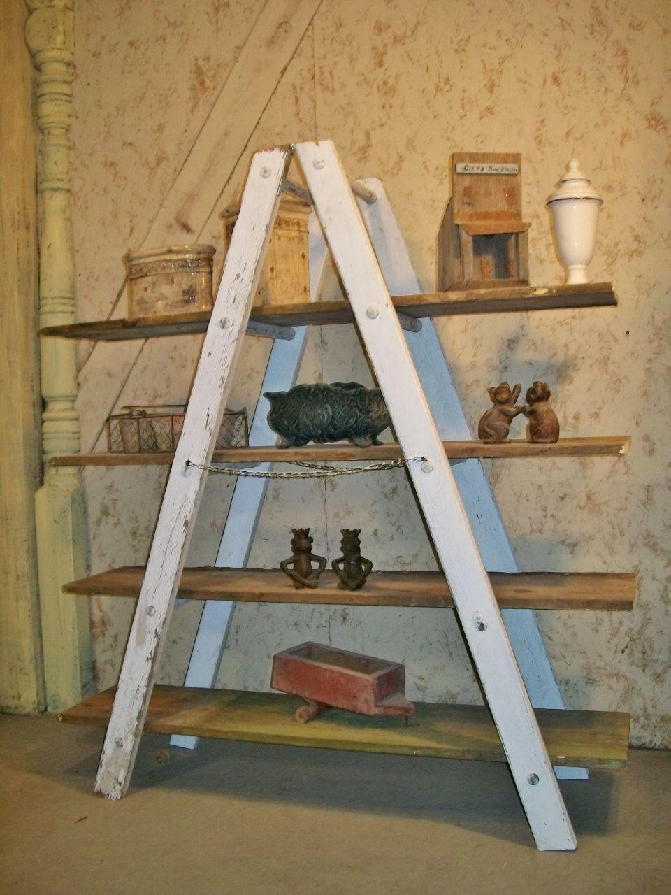 A shaped wooden ladder rustic shelving 5 rung - Reclaimed wood ladder shelf ...