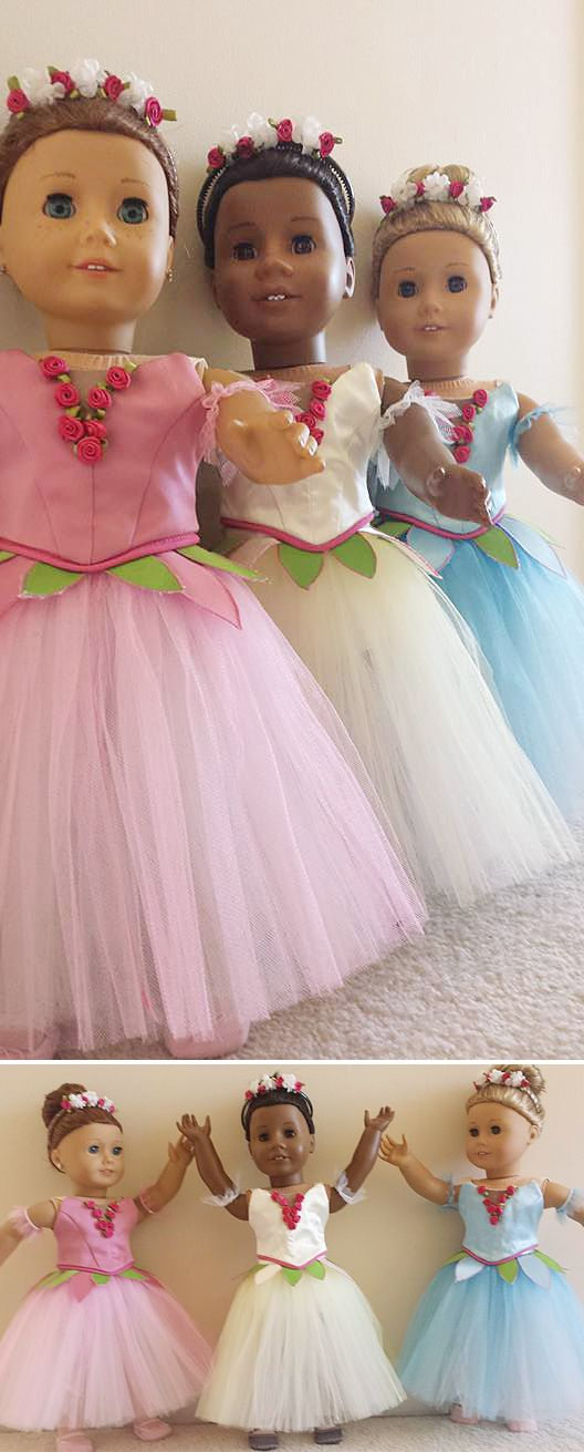"Kari D's dancer daughter asked her for a full Nutcracker flower corps for her American Girl dolls — and talented Kari obliged! She made these just-like-the-real-thing dance costume bodices and Romantic tutus using the Lee & Pearl BALLET PERFORMANCE Pattern Bundle for 18"" dolls. Get your own copy of this pattern bundle at https://www.etsy.com/listing/271748202/ballet-performance-bundle-for-18-dolls"