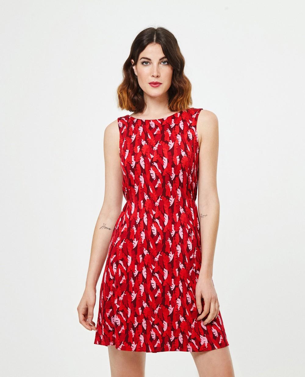 Superbe robe courte rouge Surkana Hoja Palmera