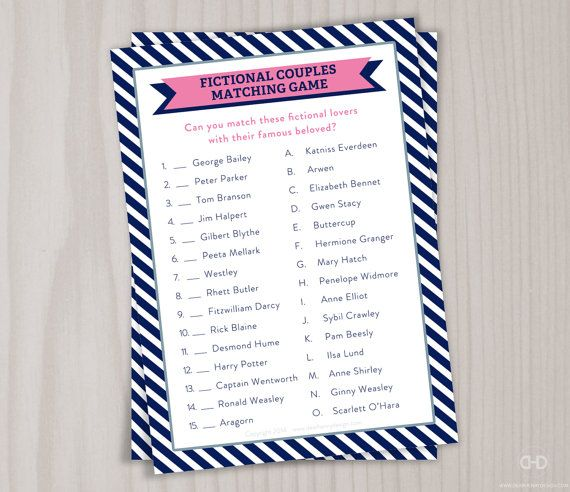 Famous Couples Bridal Shower Game Matching By