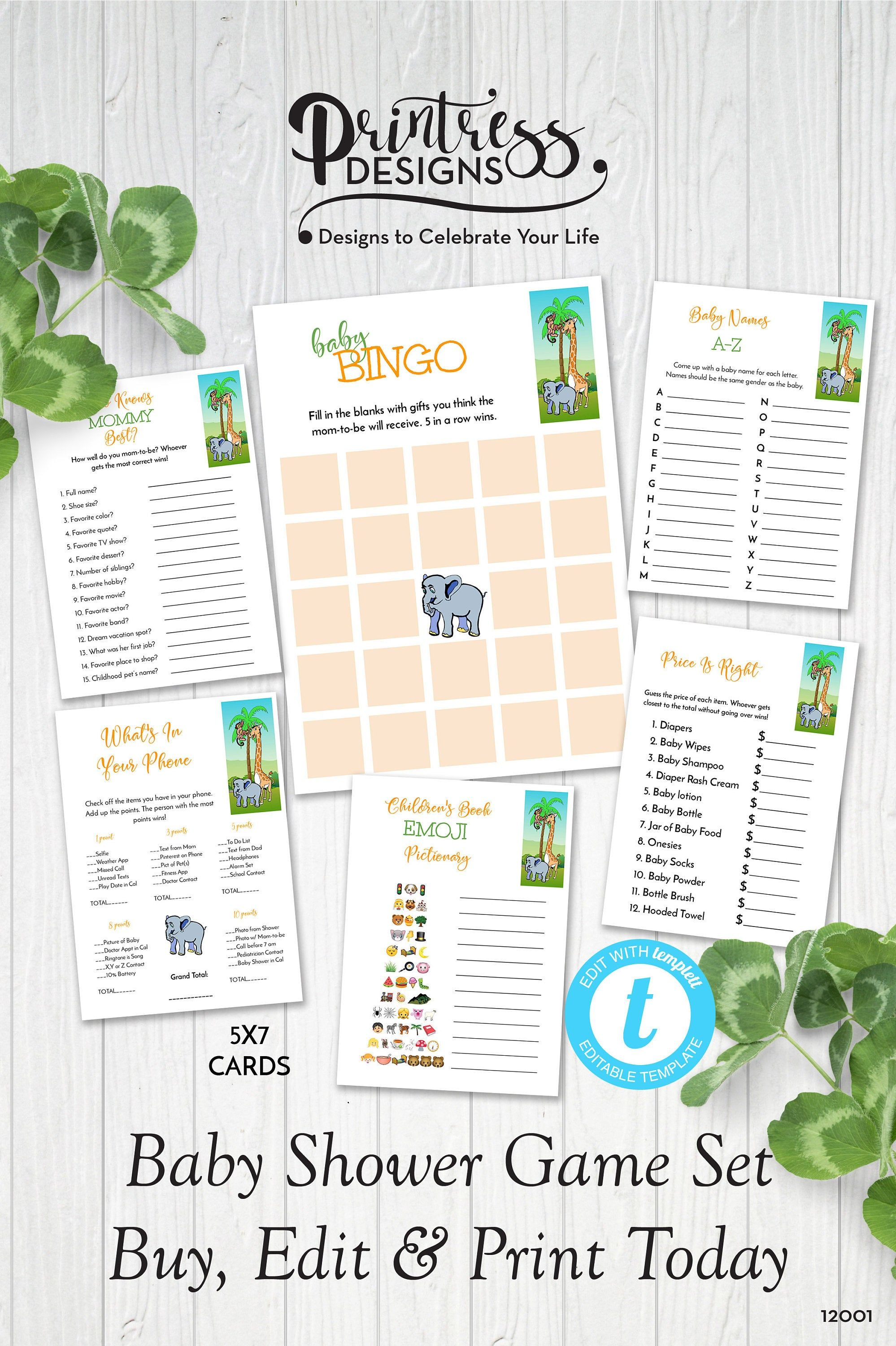 Safari Animals Baby Shower Games Set Of 6 Templates Instant Download Or Edit In Templett Zbsgm6 12001 In 2020 Safari Animals Baby Shower Animal Baby Shower Games Baby Shower Games