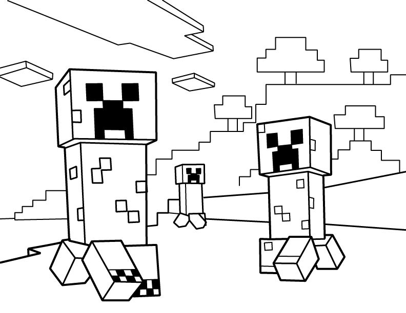 Creepers PDF Printable Coloring Page - Minecraft | Kid\'s table ...
