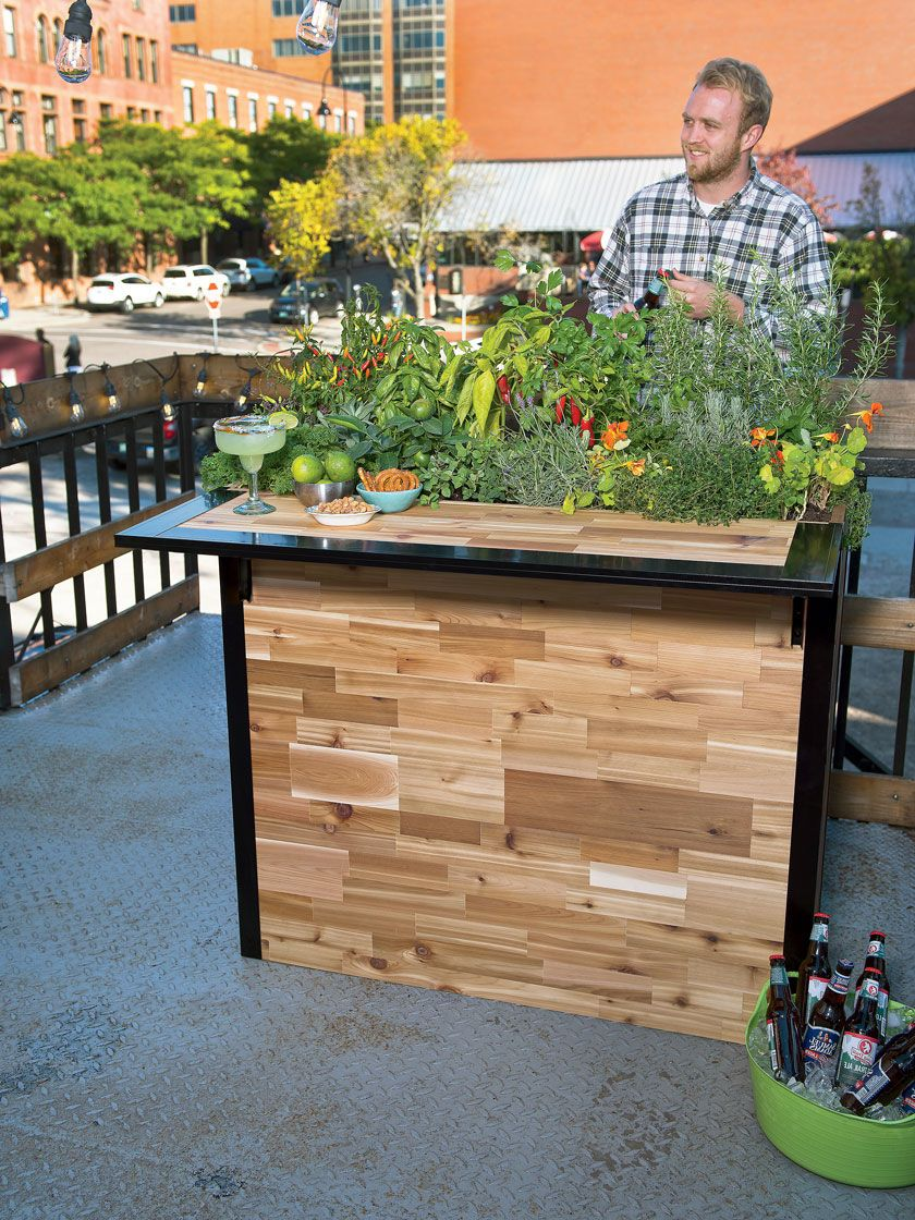 Reclaimed Wood Small Outdoor Bar Planter Patio Plant A Bar 2 X4 Patio Plants Elevated Garden Beds Outdoor Bar