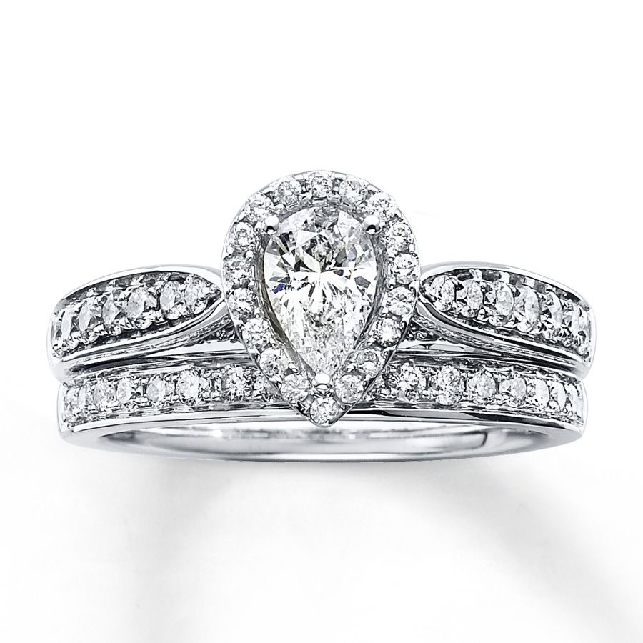 Kay   Diamond Bridal Set 1 Ct Tw Pear Shape White Gold