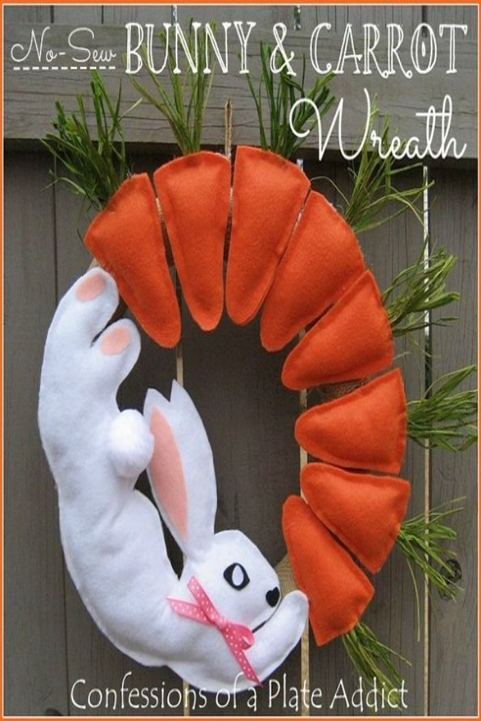 No-Sew Bunny & Carrot Wreath